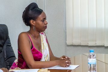 Diane Shima Rwigara presents her papers at the National Election Commission in Kigali
