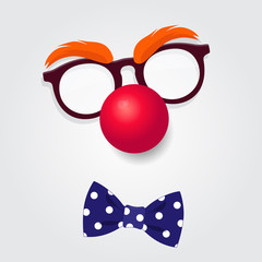 Clown glasses, red nose and bow tie