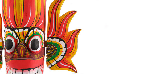 Sri Lanka national fire mask decorated in bright red and yellow colors. Isolated