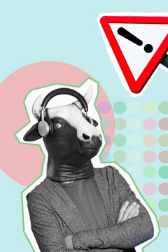 man with a cow mask in a contemporary art collage.