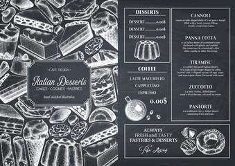 Italian cuisine menu design. Hand drawn desserts and pastries illustrations.