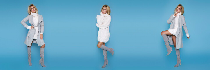 high fashion portrait of young elegant woman on blue background. Grey coat, white dress and elegant boots. Casual, street style - Image