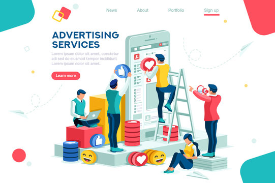 Services, large media network tool. Internet promotion, advertising, modern advertisement. Audience on phone as horizontal electronic place, plane with a small cup. Flat isometric Vector illustration.