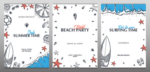 Summer Beach background. Sea Holiday. Linear graphic. Engraved top view illustration. Wave, surfboard, seashells, starfish. Top view. Vector Illustration.