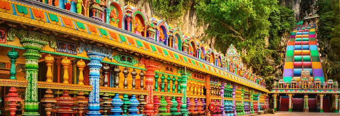 Canvas Prints Kuala Lumpur Colorful stairs of Batu caves, Malaysia. Panorama