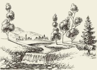 Fototapeta River flow landscape. Hand drawn nature background obraz