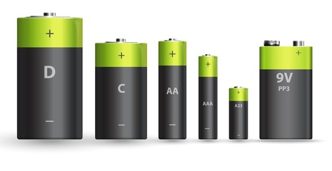 Green and black realistic alkaline battery set, diffrent types isolated on white background. Vector illustration
