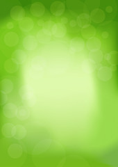 Spring modern trendy background with bokeh in green color. Abstract illustration