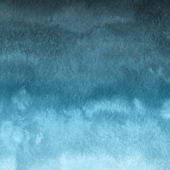 Colorful winter blue ink and watercolor textures on white paper background. Paint leaks and ombre effects. Hand painted abstract image. Deep sea.