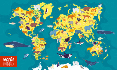 Vector flat illustration of world map with sea, oceans, continents and local animals & plants: polar bear, fox, squirrel, wolf, elephant, tiger, fish etc. Good for infographics, children book, banners