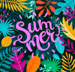 Greeting summer 2019 lettering on tropical leaves.