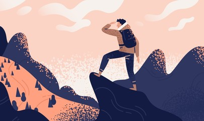 Man with backpack, traveller or explorer standing on top of mountain or cliff and looking on valley. Concept of discovery, exploration, hiking, adventure tourism and travel. Flat vector illustration. Wall mural