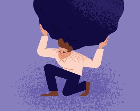 Unhappy man carrying giant heavy boulder or stone. Concept of overburdened person, guy overloaded with difficult problem or task, boy withstanding adverse conditions. Modern flat vector illustration.