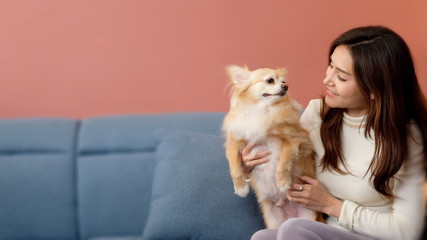Happy Woman Holding cute her dog on Sofa, Cheerful young woman with her pretty dog on the couch at home in the living room.