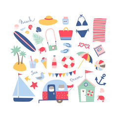 Summer beach collection in blue, pink and red colors.