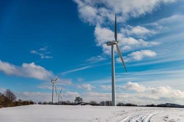 Champ d'éoliennes en hiver sur la neige sur un ciel bleu