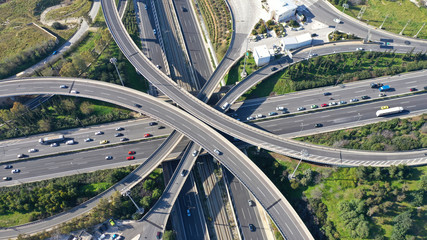 Aerial drone photo of highway multilevel junction interchange crossing road  Wall mural