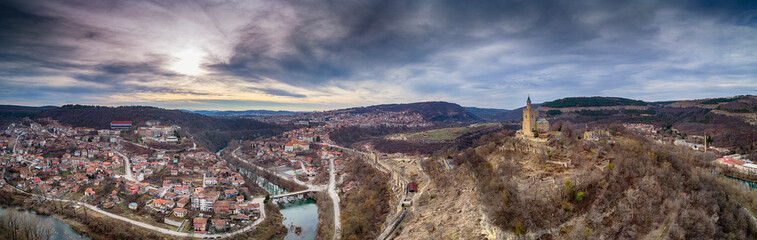Aerial panoramic View of Tsarevets fortress over Veliko Tarnovo in Bulgaria - Image Wall mural