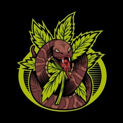 cannabis snake vector design illustration amazing design for your company or brand