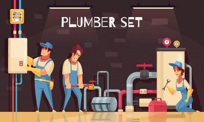 Plumbers At Work Illustration