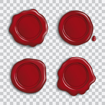 Vector set of empty red shiny wax seals with shadow isolated on transparent background