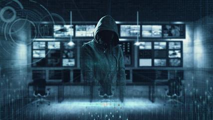 Internet crime concept. Hacker working on a code on dark digital background