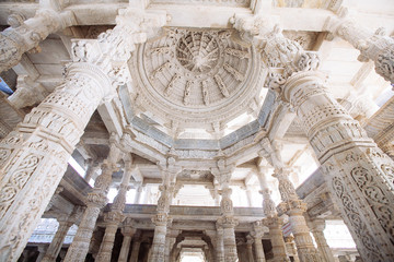 Interior of Ranakpur Temple in Rajasthan, India