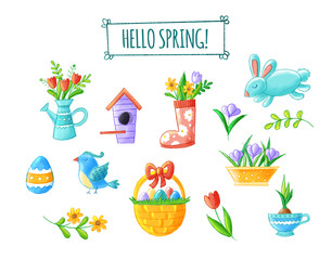 Hello spring hand drawn element collection - cute flowers, bird, bunny, easter eggs, watering can, nesting box, seasonal illustrations. Isolated on white background