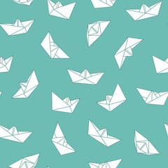 Vector seamless origami pattern with drawing paper boats. Decorative green background