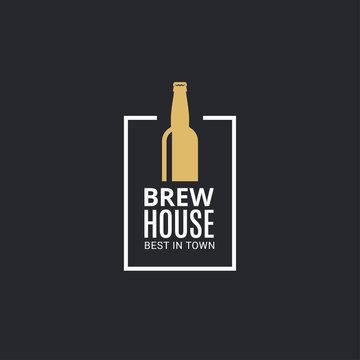 beer bottle logo. Brew house icon on black