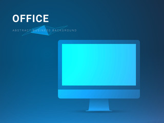 Abstract modern business background vector depicting office in shape of a computer screen on blue background.