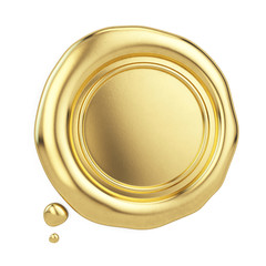 Blank golden wax seal isolated on white. 3d rendering