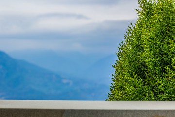 high balcony exterior place wallpaper pattern with green pine bush and unfocused foggy mountain highland view, copy space