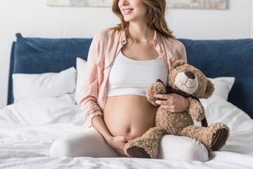 Partial view of pregnant woman sitting on bed and holding teddy bear