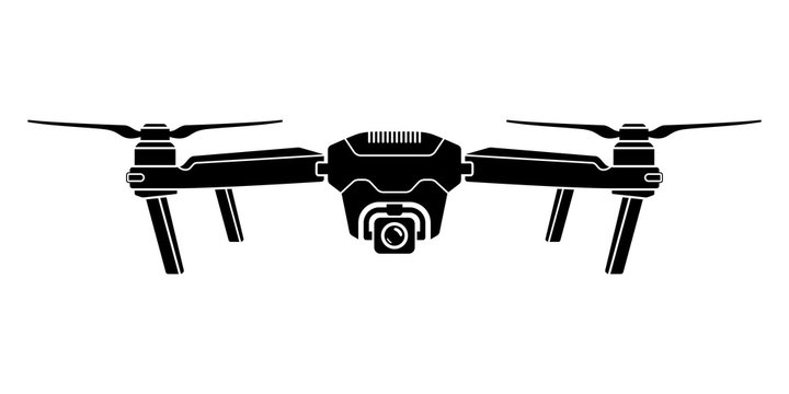 Drone icon. Copter, quadcopter with action camera. Vector illustration.