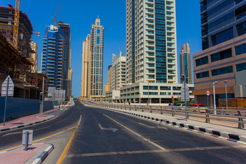 empty street intersection in Dubai city, United Arab Emirates