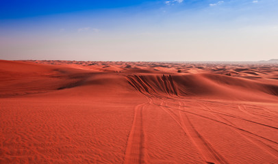 desert sand and dunes with clear blue sky. Asia