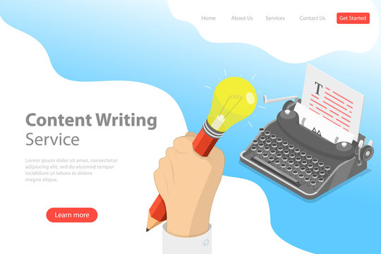 Flat isometric vector landing page template of creative writing, copywriting, content creating.