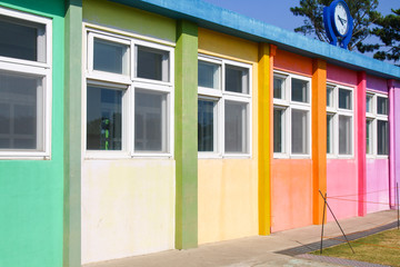 Small school building painted with pastel tone in Jeju Island