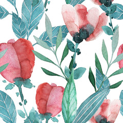 seamless floral pattern in watercolor