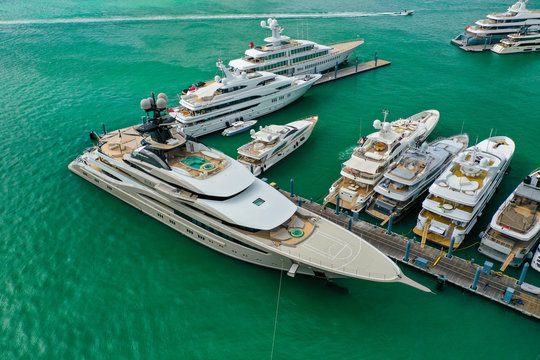 Miami Super Yacht Marina with Downtown and South Beach Skyline in the Background