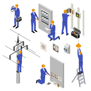 Character Electrician in Uniform 3d Icon Set Isometric View. Vector