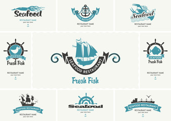 Set of vector business cards with logos on the theme of seafood in retro style