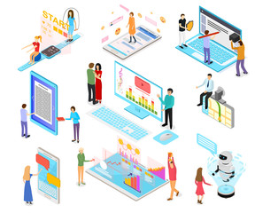 People and App Interfaces Concept 3d Isometric View. Vector