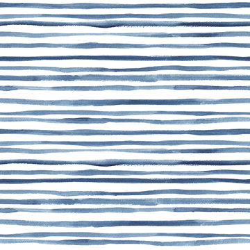 Hand painted indigo lines. Seamless watercolor pattern