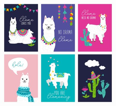 Set of cute card with alpacas. Inspirational llamas posters with colorful design and inspirational quotes. Llama loves you. No drama llama. Hola! You are llamazing. Vector llama illustration