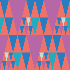Bright bunting style pink and blue triangle design on coral colour background. Seamless vector pattern with hot fiesta vibe. Perfect for stationery, parties, textiles, home decor, giftwrapping