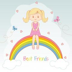 Beautiful little girl sitting on the rainbow.