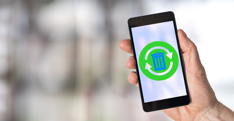 Recycling concept on a smartphone