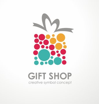 Logo design for gift shop. Gift box symbol made from colorful circles. Vector icon.